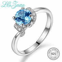 L&zuan 0.86ct Natural Blue Topaz Rings for Woman 925 Sterling Silver Wedding Ring Female White Zircons Gemstone Silver Jewelry