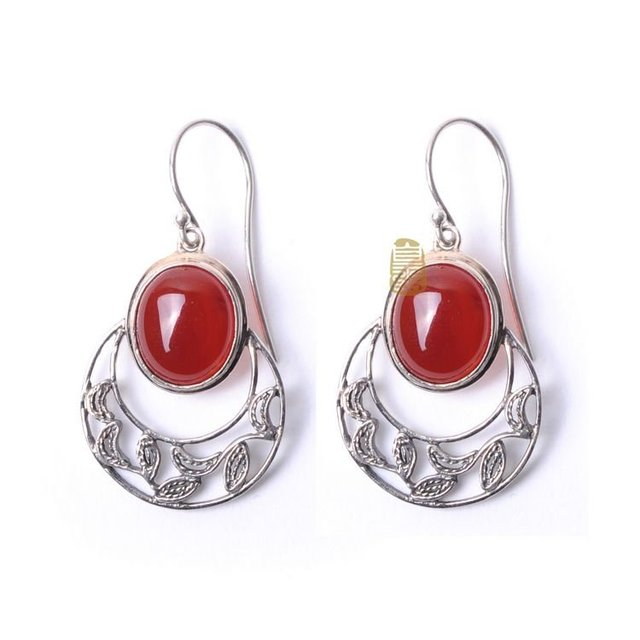 Royal Crafts S925 Silver Handmade Red Agate Earrings Chinese Traditional