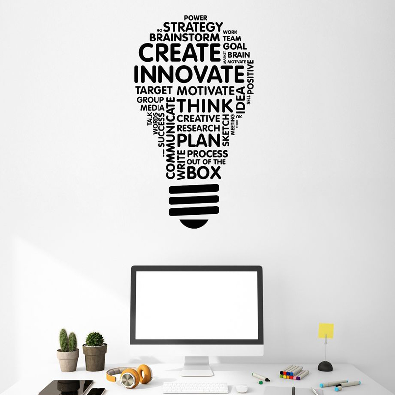 Vinyl Wall Decal Lightbulb Inspire Words Business Office Decor Stickers Create Innovate Wall Decoration SK40 in Wall Stickers from Home Garden