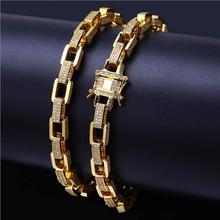 سلسلة وصلات مربعة سلسلة مجوهرات هيب هوب روك 2018 أحدث الذهب معبأ مثلج خارج كول ستريت بوي هدية ميامي ربط سلسلة سوار