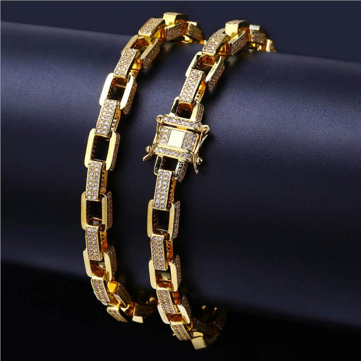square link chain circle HIPHOP rock jewelry 2018 latest gold filled iced out cool street boy gift Miami link chain bracelet 7 rose gold black color unique new cuban link chain design cool mens jewlery hiphop rock wide cuban link chain bracelet bangle