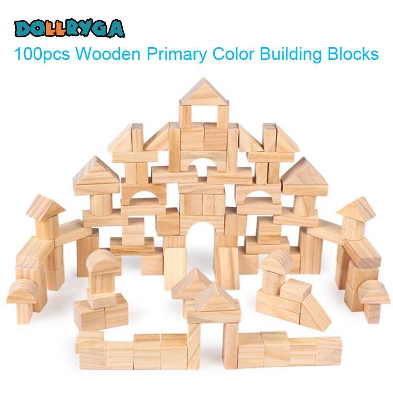 DOLLRYGA 100 pièces Blocs de Construction En Bois En Bois Constructeur Jouets Pour Enfants Palais D'apprentissage Montessori Jeu Éducatif Pour Les Enfants - 2