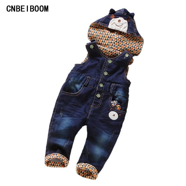 1da7ac247d7 Overalls für Kind Junge Mädchen Denim Blue Jeans Hosen Säugling bär Cartoon  Button Bib Hosen Kinder