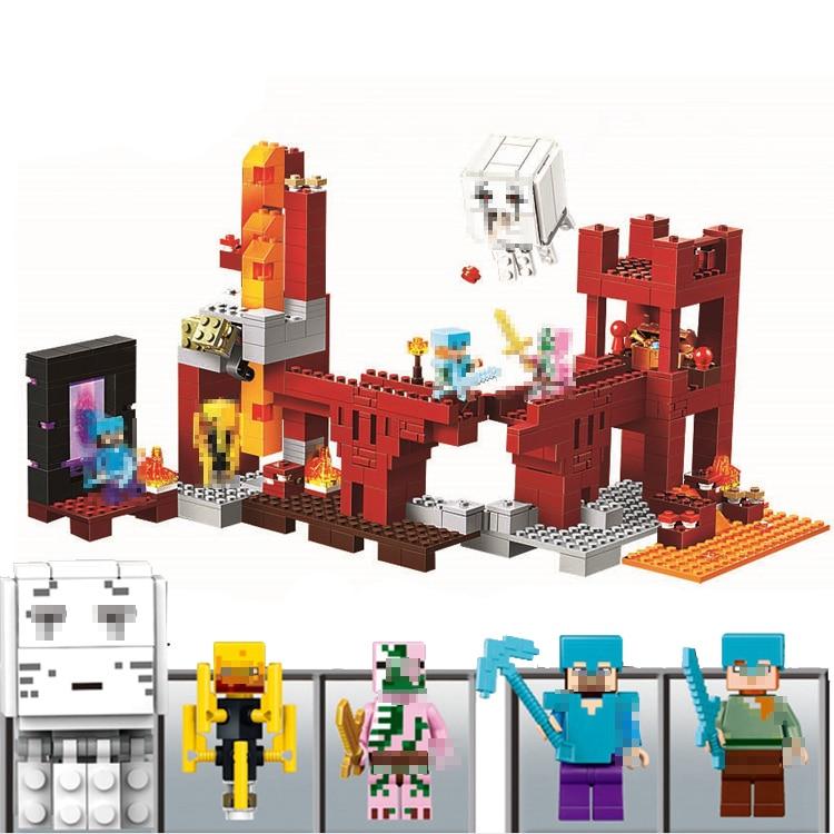 LELE Bela My World Minecraft legoings Toys 562pcs Portal Fortress Castle Zombie Building Blocks Mini Bricks Figures For children цены