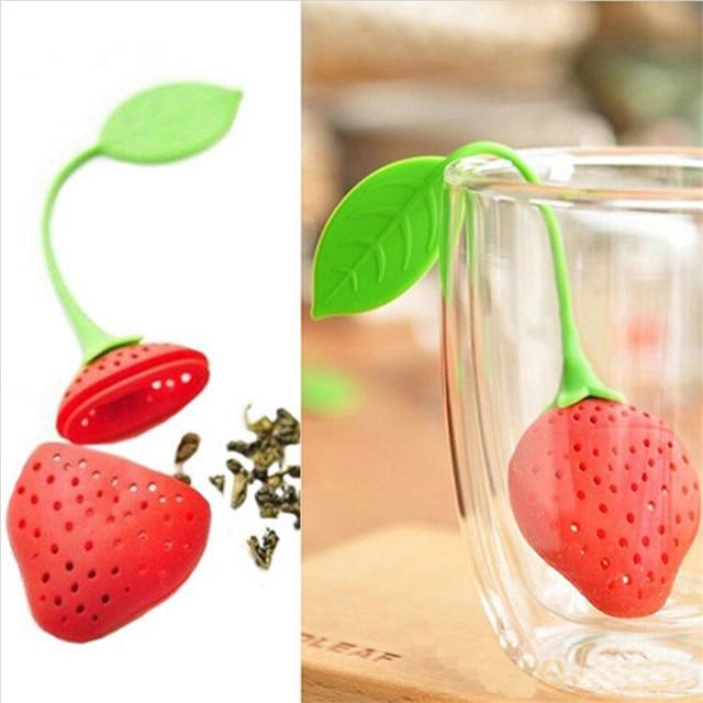 BornIsKing 1Pc lovely Reuseable Foof safe Silicone Red Strawberry Shape Tea Leaf Bag Holder Tea Coffee Punch Filter Tea Infuser