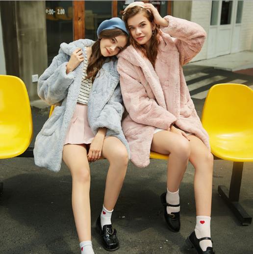 Femmes Chaud D'hiver Outwear Femme Long Manteau De Furry Faux 2018 Artificielle Clobee Fourrure Veste Q984 qEw5W7x