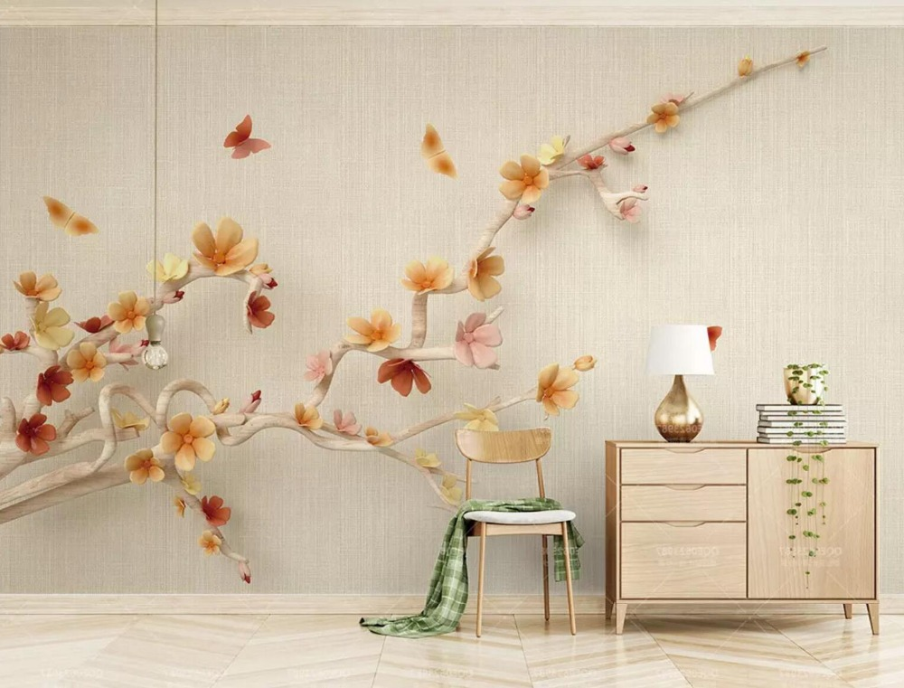 [Self-Adhesive] 3D Butterfly Flower Branches 22 Wall Paper Mural Wall Print Decal Wall Murals