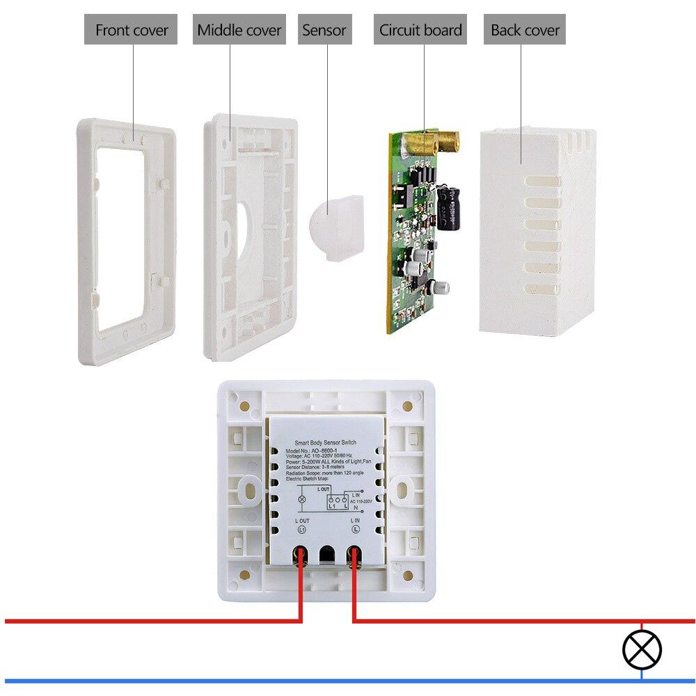 HGhomeart 110V 220V PIR Infrared Motion Sensor Switch Induction Save ...