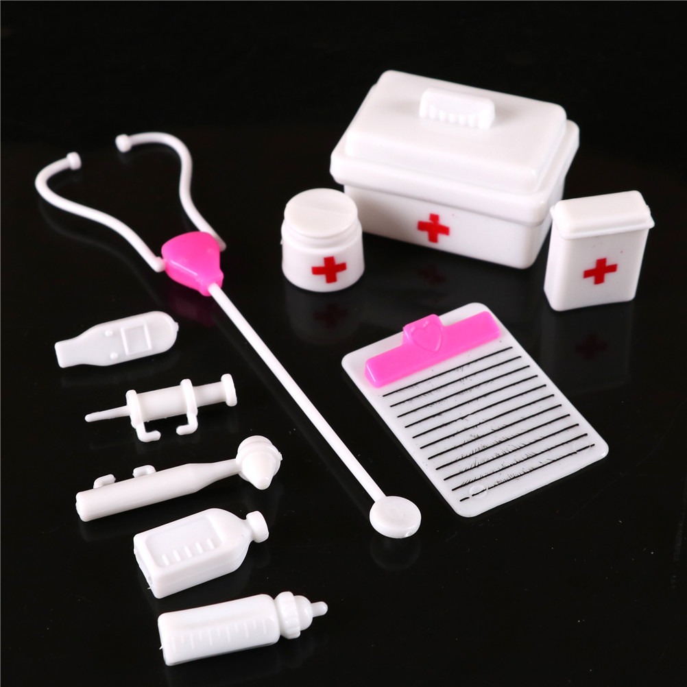 10pcs/Set Kids Toys Doctor Set Baby Pretend Play Suitcases Medical Kit Simulation Medicine Box With Doll Girl Toy For Children
