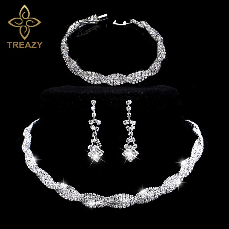 TREAZY Stunning Silver Plated Rhinestone Crystal Wedding Jewelry Choker Necklace Earrings Bracelet Set Women Bridal Jewelry Set rhinestone embellished metal bracelet set