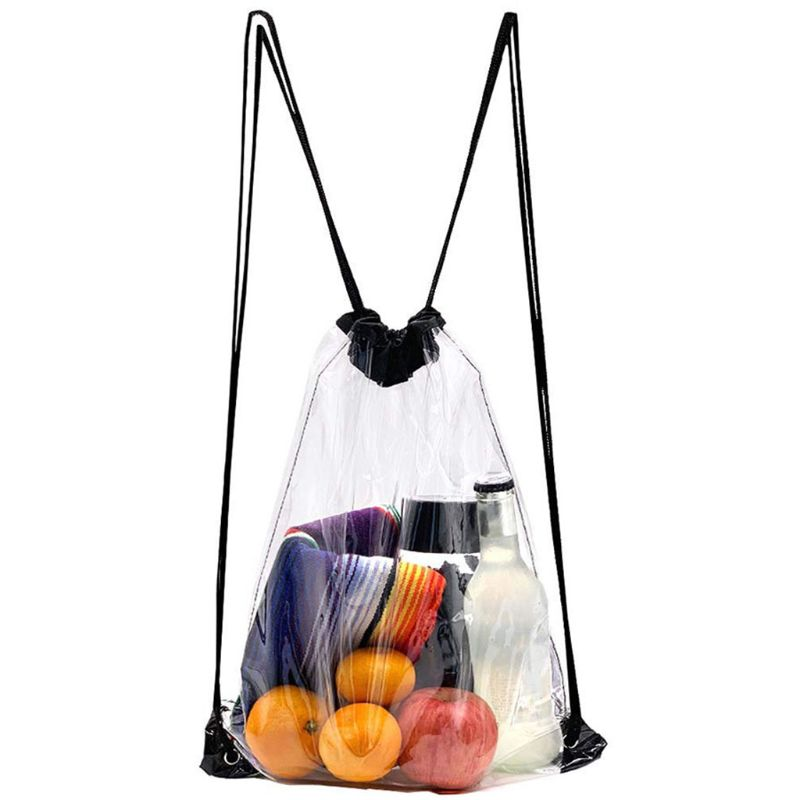 New Cool Transparent Drawstring Backpack Cinch Sack School Tote Gym Bag Sport Pack