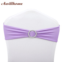Awillhome 100PCS Pack Chair Band Elastic Spandex Chair Sashes Round Ring For Wedding Banquet Party Decoration