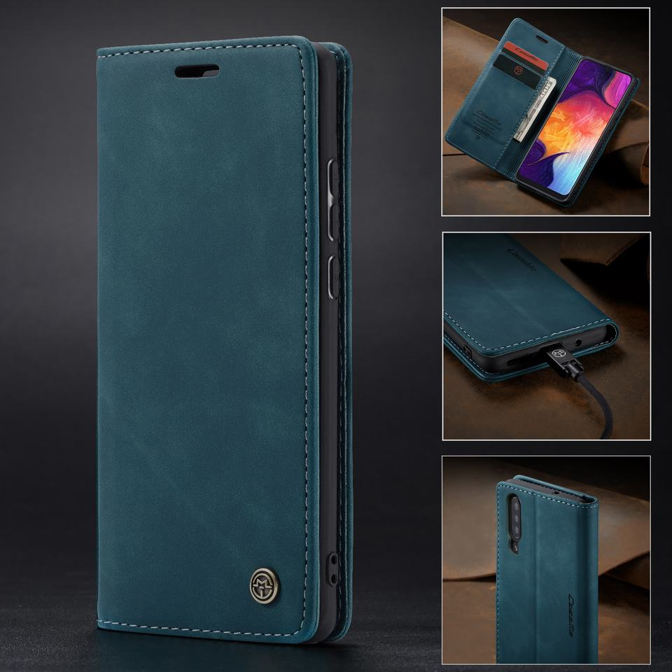 HTB1UduNa8WD3KVjSZKPq6yp7FXai Luxury Magnetic Flip Leather Case For Samsung A50 A 50 Cases Cover Wallet Card Slots Design Business Vintage Book For Galaxy A50