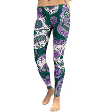 Hot Women Sexy Yoga Pants Floral Head Diamond Print Sport Legging High Waist Workout Running Skinny Slim Fitness Female Trousers цена