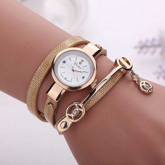 Bracelet Gold Leather Casual Bracelet Watches 2