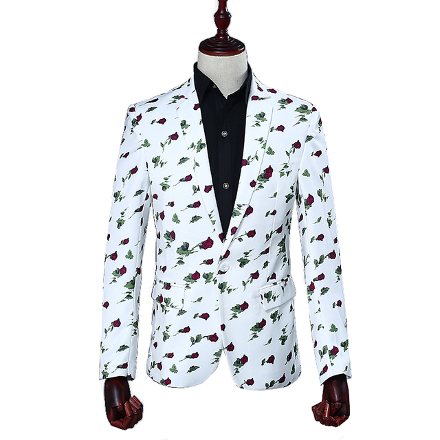 Brand Men Suits Wedding Male Singers Stage Costume Slim Fit Suits DJ DS Performances White Printing Rose Host Dance outfit
