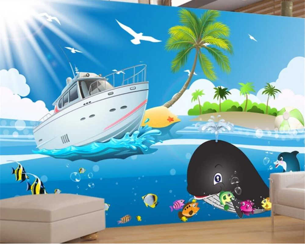 Beibehang Wallpaper Kustom 3D Foto Mural Kartun Biru Laut Kapal Ikan Wallpaper Untuk Anak Anak Kamar Anak Anak Kertas Dinding Rumah Dekorasi