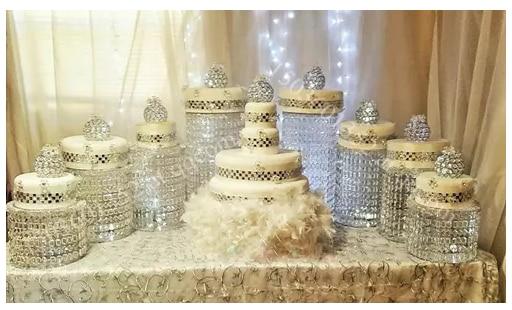 9pcs LOT K9 Crystal Glass Beads Amazing Wedding Cake Stand Centerpieces Hotel Decoration