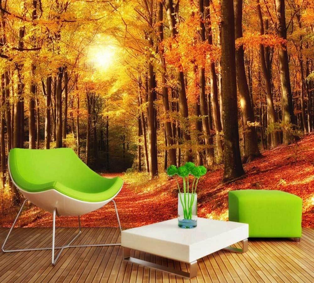 Free Shipping Custom 3d Golden Woods Sunny Tv Background