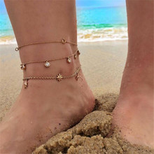 Romantic Star Mosaic Zircon Anklets Bracelets Gold Color Alloy Round Rhinestone Chain For Women Party Gift Jewelry