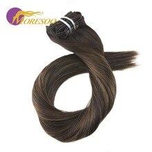 Moresoo Balayage человеческие волосы для наращивания на заколках с эффектом омбре 7 шт. 100 г