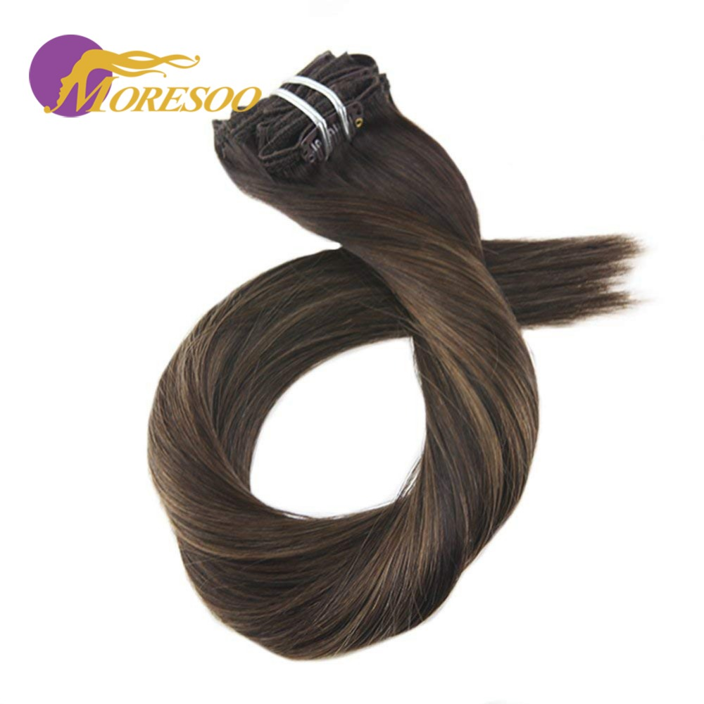 Moresoo Clip In Human Hair Extension 7Pcs 100G Machine Remy Human Hair Extensions Balayage Ombre Color And Pure Color Full Head