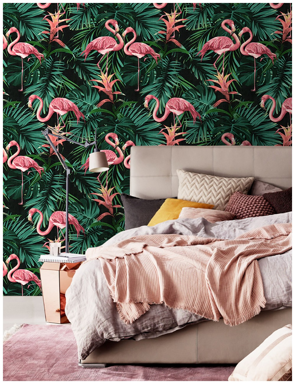 Haokhome Vintage Flamingo Wallpaper 0 53m 10m Leaf Contact Paper Green Black Pink Living Room Bedroom Home Bathroom Decor Wallpapers Aliexpress