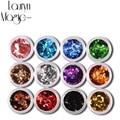 12 Colores/Set de Uñas de Acrílico Arte 3D Rombo Glitter Lentejuelas Forma de Polvo