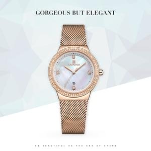 Image 2 - Nova naviforce mulheres marca de luxo relógio simples quartzo senhora relógio de pulso à prova dfemale água moda feminina relógios casuais reloj mujer