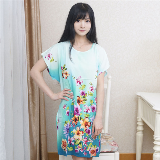 Brand New Summer Women's Cotton Sleepwear High Quality Print Robe Bath Gown Sexy Nightgown Flower Home Dress One Size NR198