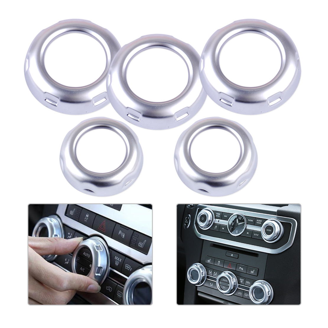 beler 5Pc Chrome Dashboard Console Switch Button Ring Cover Trim Fit for Land Rover Discovery 4 Range Rover Sport Car Styling car abs matte chrome center console panel molding trim for land rover discovery 4 2010 2016 accessories car styling