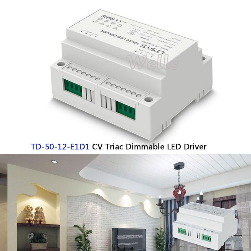 TD-50-12-E1D1;200-240VAC input,Output 12VDC 4.2A 50W constant voltage intelligent Triac Dimmable LED Driver Triac Push Dim kvp 24200 td 24v 200w triac dimmable constant voltage led driver ac90 130v ac170 265v input