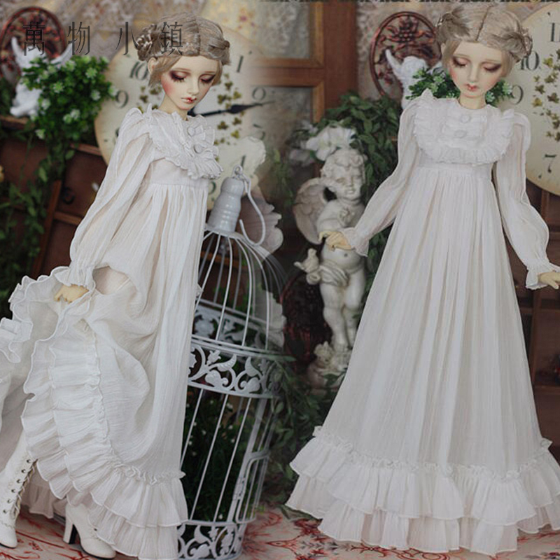 Accept custom NEW Retro Classics White Nightwear Long skirt 1/3 1/4 BJD SD SD13 SD16 SDGR Girl MSD IP Doll Clothes new handsome fashion stripe black gray coat pants uncle 1 3 1 4 boy sd10 girl bjd doll sd msd clothes