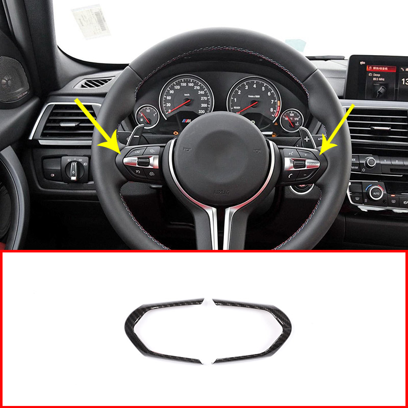 Carbon Fiber Style ABS Steering Wheel Decoration Frame Cover Trim For BMW M3 M4 M5 New 1 3 series X5M Car Accessories carbon fiber abs sticker steering wheel trim button switch panel frame cover sticker accessories for honda civic 2016 2017