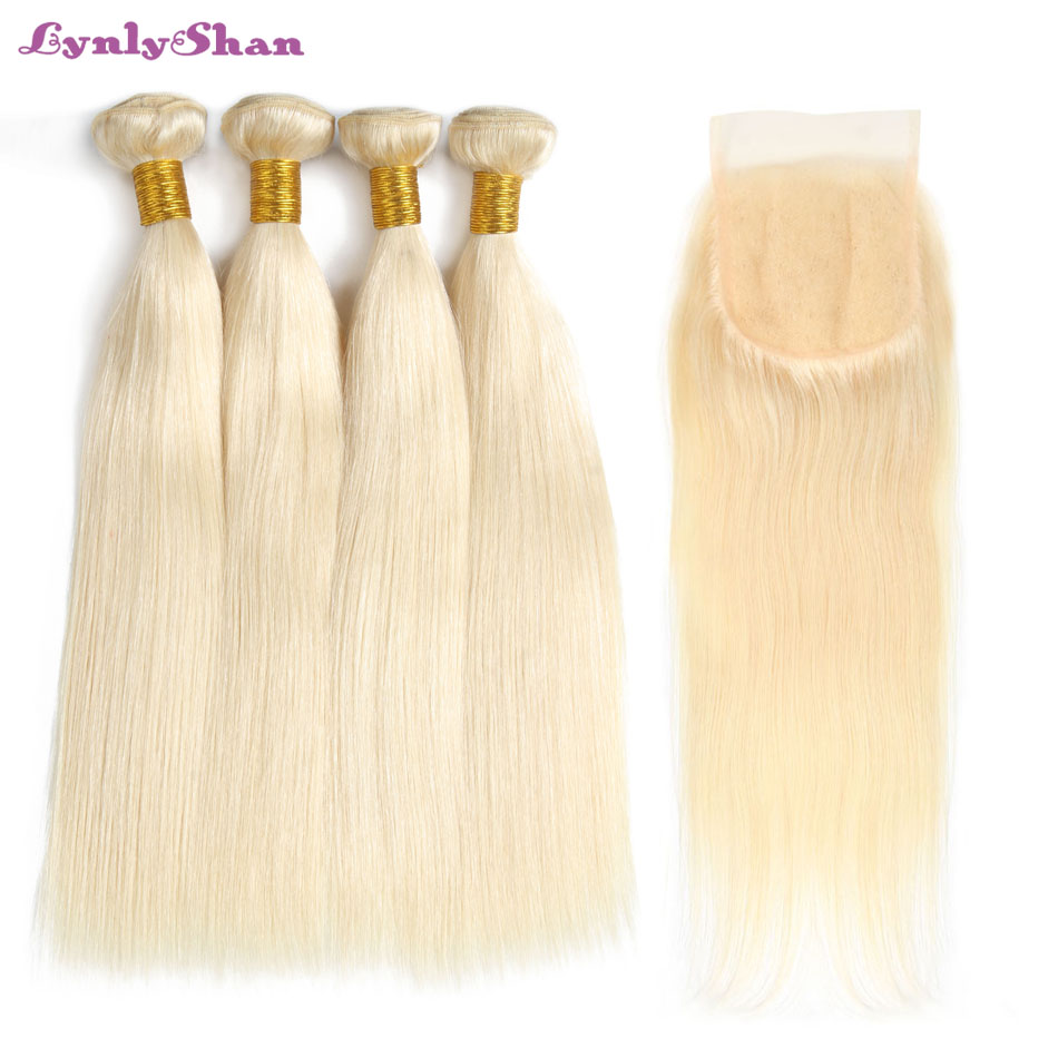Lynlyshan Human Hair 4 Bundles With Closure 613 Blonde Color Remy Hair Malaysian Straight Hair Weave Free Shipping image