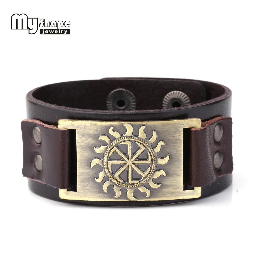 My Shape Genuine Leather Bracelets Slavic Symbol of Sun Amulet Pagan Bracelets Bangles Scandinavian Norse Viking Jewelry