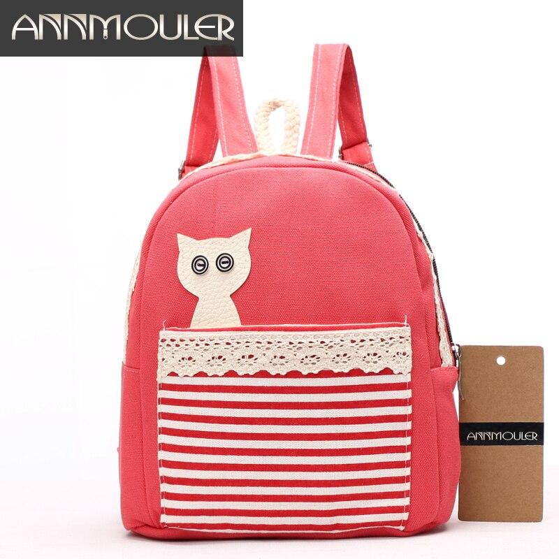 1526589729da Annmouler Cartoon Backpack for Girls Animal Patchwork Small Backpacks 4  Colors Baby Girls School Bags kindergarten Book Bags