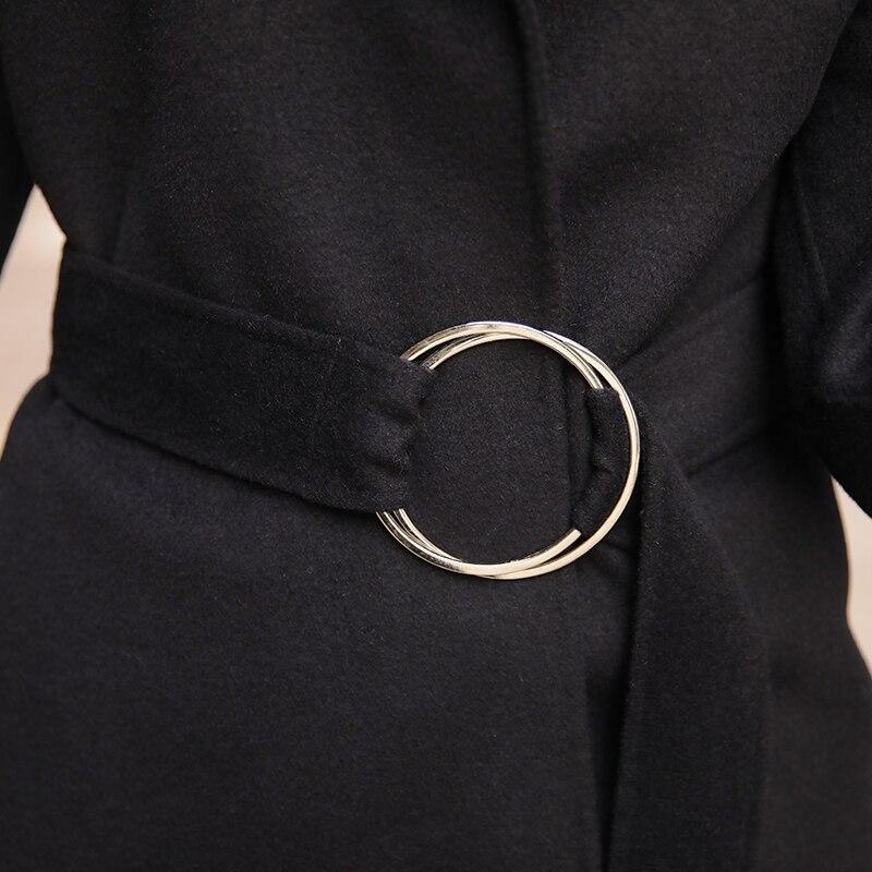 2018 Pardessus Noir Vestes Avec Manteau Femme noir Double Laine Nouveau Manteaux Femmes Blue side Cachemire Ceinture Slim Navy Printemps Z0020 Pour qdF6ZX