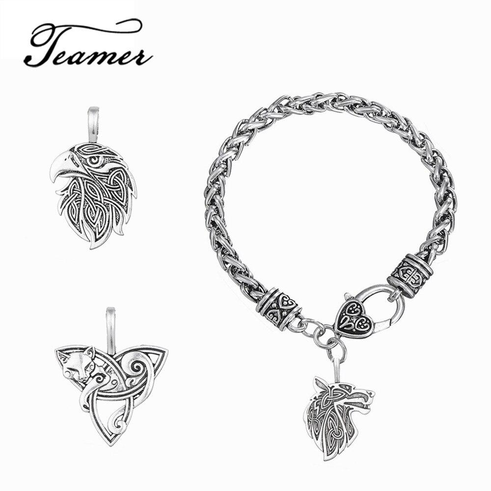 Teamer Brand Viking Animal Pendant Bracelet 3 Animals Wolf