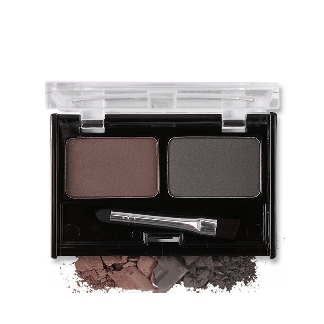 Professional Brand Eyeshadow Cake Makeup 2 Color Waterproof Eyebrow Powder Eye Shadow Eye Brow Palette + Brush Eyebrow Enhancer 3