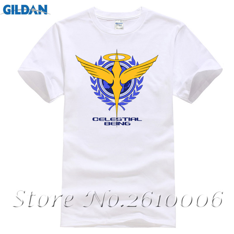 2017 Fashion Mobile Suit Gundam Men's T-Shirts Anime Celestial Being T Shirt 100% Cotton Tops Cartoon Clothes Casual Short Tees