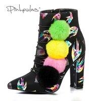 Pembe Palms Kadın Ayakkabı Hayvan Baskı Çizmeler Renkli Ponpon Yüksek Topuklu Ayak Bileği Kar Botları Sivri Burun Moda Kış Çizmeler