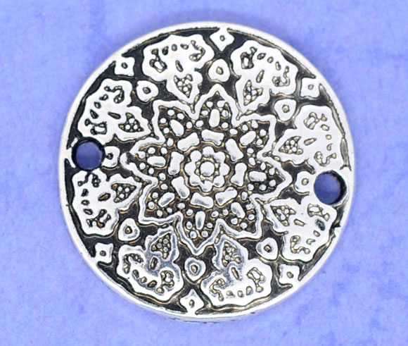 Zinc Metal Alloy Connectors Findings Round Antique Silver Flower Pattern Color Plated 19mm( 6/8