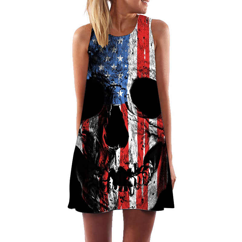 3D American Flag Skull Dress Women Sleeveless O Neck A Line Summer Boho  Dress Plus Size Clothing Short Beach Party Dresses
