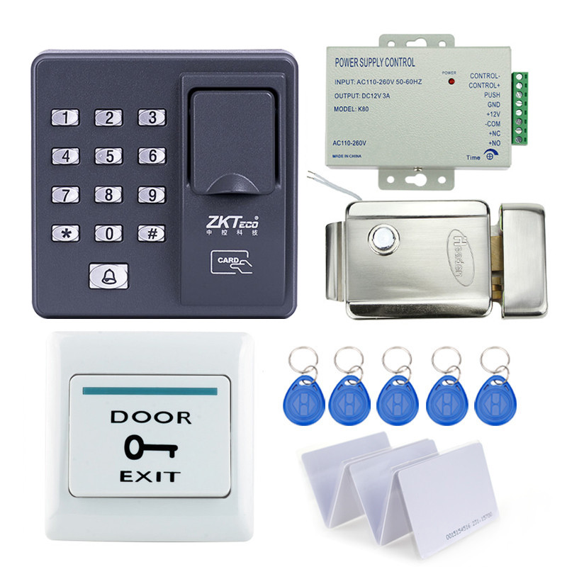 RFID reader finger scanner biometric fingerprint access control X6+electronic control lock+power supply+exit button+key cards good quality fingerprint access control with smart rfid card reader mini power supply and 600lbs magnetic lock