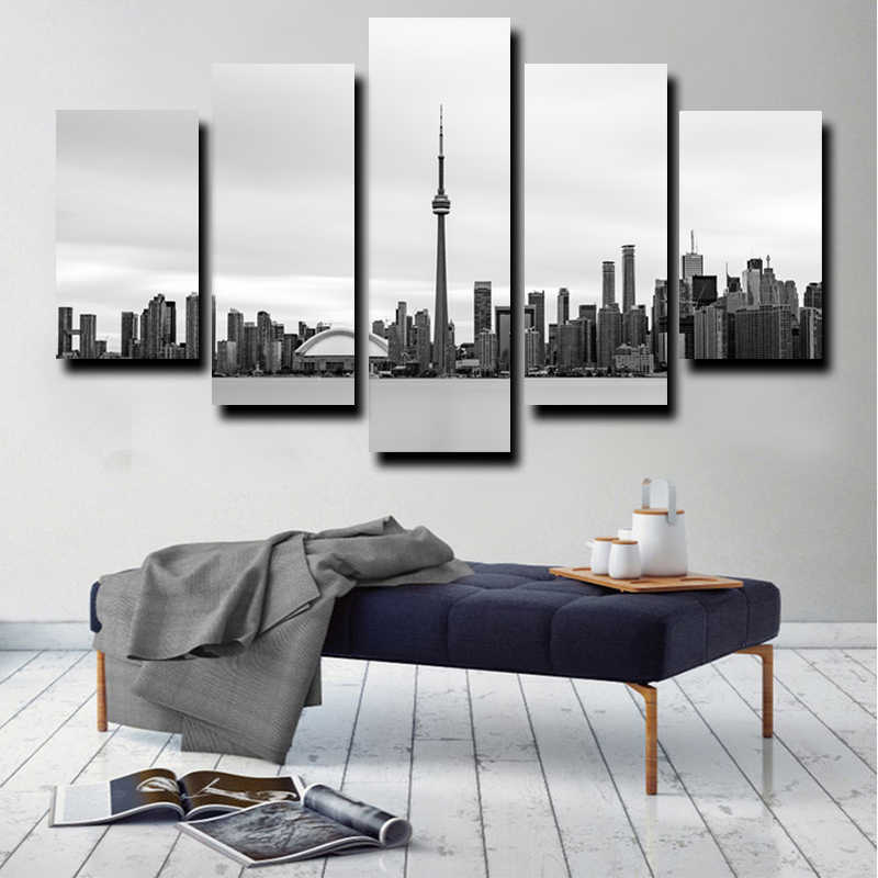 Printed Poster Home Decor Wall Art Frame 5 Pieces Famous Building City Scenery Paintings Modular Canvas Toronto Skyline Pictures