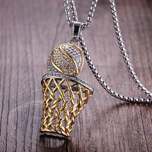 WAWFROK Fashion Men Basketball Pendants Necklaces Gold Stainless Steel Sports Necklace for Men Jewelry