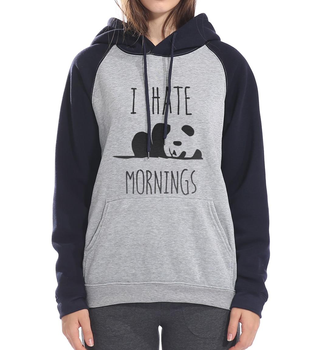 Womens Panda Print Long Sleeve Crop Top Sweatshirt Hoodies Drawstring Hoodie Raglan Sweatshirt