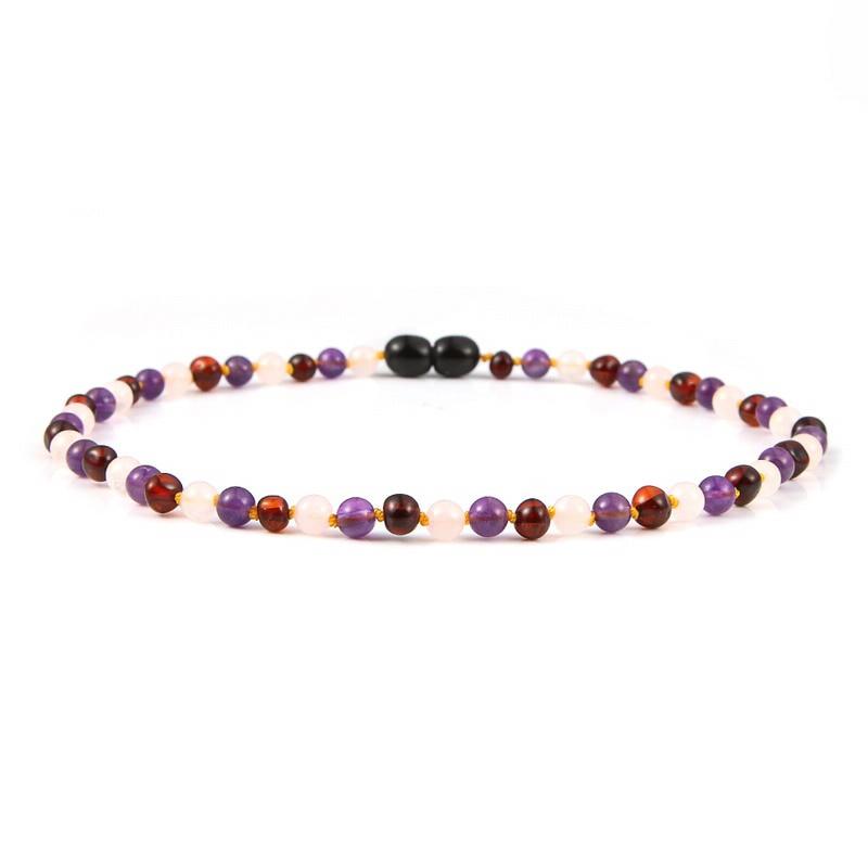 HAOHUPO prirodna amber ogrlica za bebe djeca ruž kvarc ametist nakit - Fine nakit - Foto 2