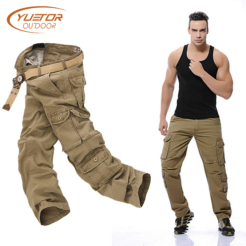 Outdoor Hunting Cotton Trousers Multi-pockets Cargo Pants Military Style with Zipper Pockets Men Tactical Hiking Pants rocotactical male military cargo pants city urban tactical pants multi pockets breathable camping hiking pants bdu swat